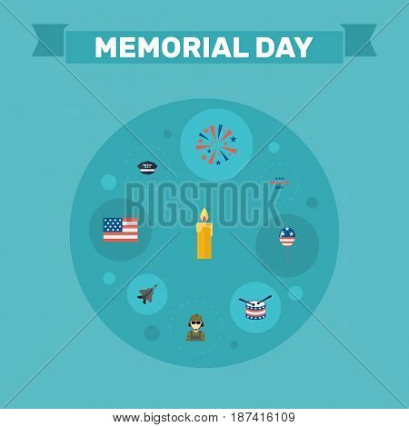 Flat Firecracker, Aircraft, Fire Wax And Other Vector Elements. Set Of Memorial Flat Symbols Also Includes Instrument, Day, Fighter Objects.