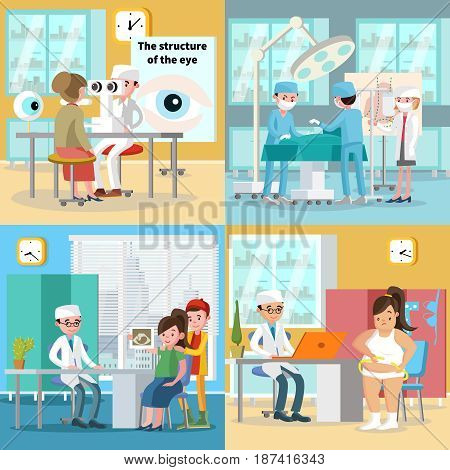 Medical care square concept with surgery woman visiting ophthalmologist pregnancy diagnostic and nutritionist testing fat girl vector illustration