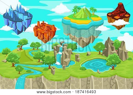 Isometric game nature landscape template with waterfall mountains lake and flying ice magma volcano tropical islands vector illustration