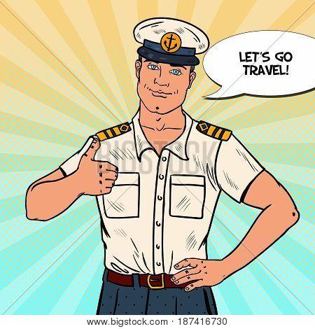 Happy Sea Captain Showing Thumb Up. Cruise Vacation. Pop Art Vector illustration