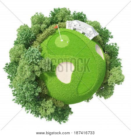 Planet Golf 3D concept model world green