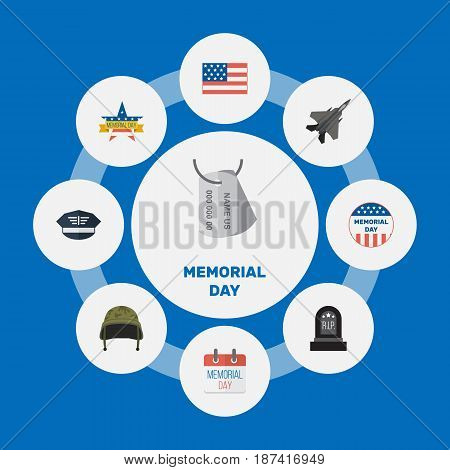Flat History, Soldier Helmet, Identity And Other Vector Elements. Set Of Memorial Flat Symbols Also Includes Fighter, Memorial, Grave Objects.