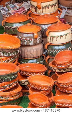 Dishes made of clay in Serbia on the traditional way
