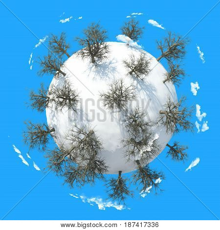 3D Winter Planet with blue background