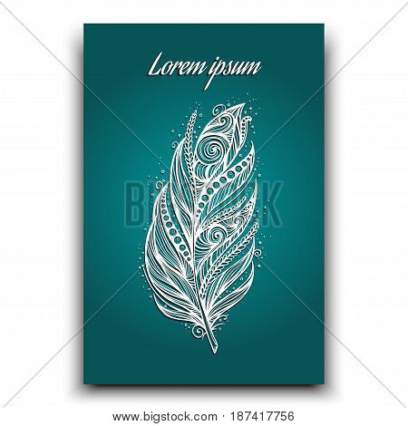 feather postcard vector illustration, excellent for greeting card, menu cover. tribal handdrawn.