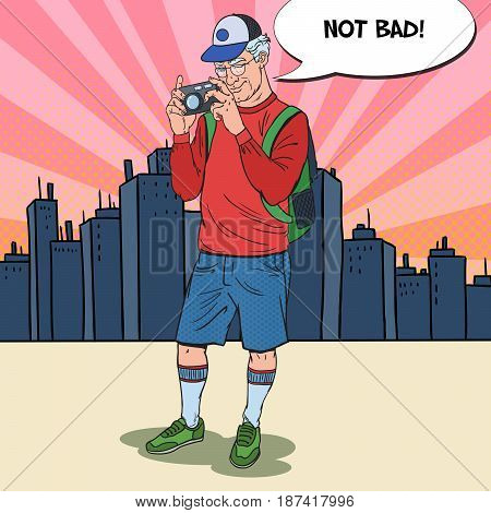 Pop Art Senior Man Taking Picture with Photo Camera in the City. Mature Tourist. Vector illustration