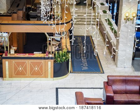 MOSCOW RUSSIA - MAY 18 2017: Reception of President Hotel in Moscow Russia on May 18 2017. Hotel belongs to Department of Affairs of the President of the Russian Federation.