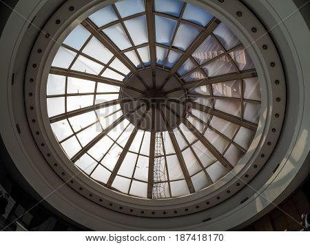 MOSCOW RUSSIA - MAY 18 2017: Glassy ceiling at White Hall of President Hotel in Moscow Russia on May 18 2017. Hotel belongs to Department of Affairs of the President of the Russian Federation.
