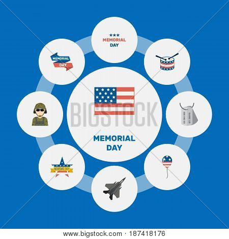 Flat Memorial Day, Holiday, Aircraft And Other Vector Elements. Set Of Day Flat Symbols Also Includes Identity, Balloon, Aircraft Objects.