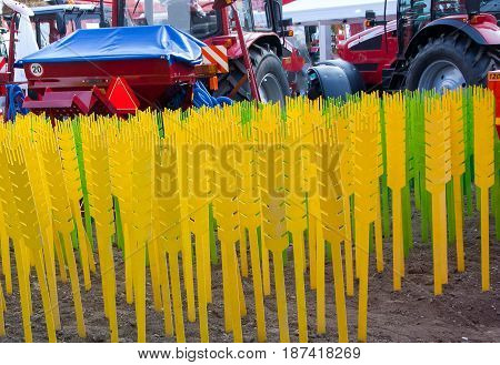 Plastic imitation wheat pinned to the ground at the fair