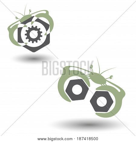 Vector illustration of two images in the form of crabs with spanners