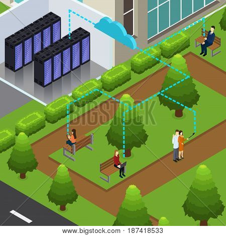 Isometric cloud technology concept with datacenter room and people using devices in city park vector illustration