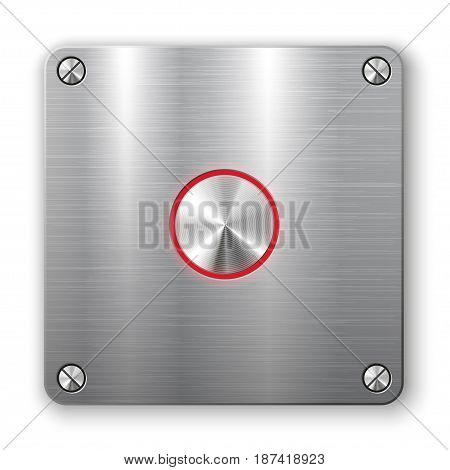 Metallic button on square plate.  Vector illustration