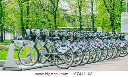 Moscow, Russia - May 20, 2017: bicycle rental point at VDNKh - Exhibition of Achievements of National Economy. Sponsored by VTB finance group