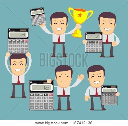 Set of Cartoon businessman or accountant character who showing an electronic desktop calculator. Stock vector for poster, greeting card, website, ad, business presentation, advertisement design.