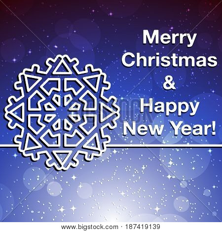 Merry Christmas and Happy New Year greeting card. Christmas background with place for text. Vector illustration.