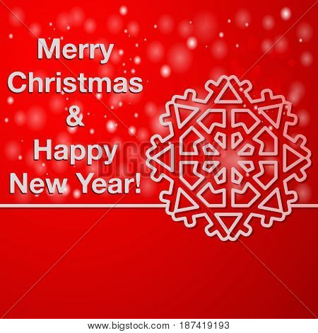 Christmas background with place for text. Merry Christmas and Happy New Year greeting card. Vector illustration.