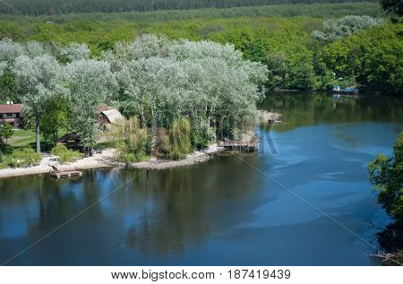 A view from above of the bends of the Seversky Donets River. Region of Kharkov .