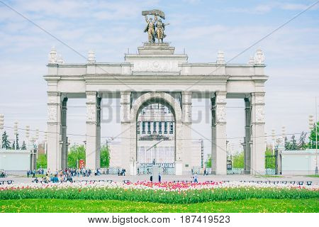 Moscow, Russia - May 20, 2017: main entrance arch at VDNKh - Exhibition of Achievements of National Economy