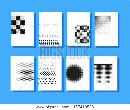 Blank halftone covers brochures template. Design half tone cover for magazine printing products flyer presentation brochure or booklet. Vector illustration.