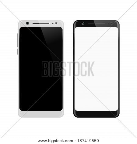 Smartphone isolated on white background. Mobile phone with blank screen. Smart phone mockup design. Vector illustration.