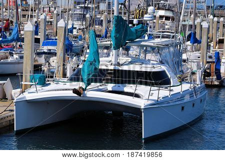 May 19, 2017 in Monterey, CA:  Catamaran which is a multi hulled watercraft docked at the Monterey Bay Harbor Marina where people can rent boats or ride their own yachts out to sea taken in Monterey, CA