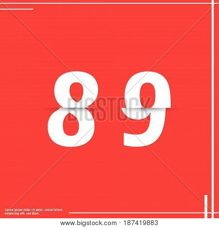 Alphabet font template. Set of numbers 8 9 logo or icon cutting paper design. Vector illustration.