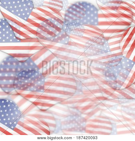Multiple heart shaped American flags overlapping