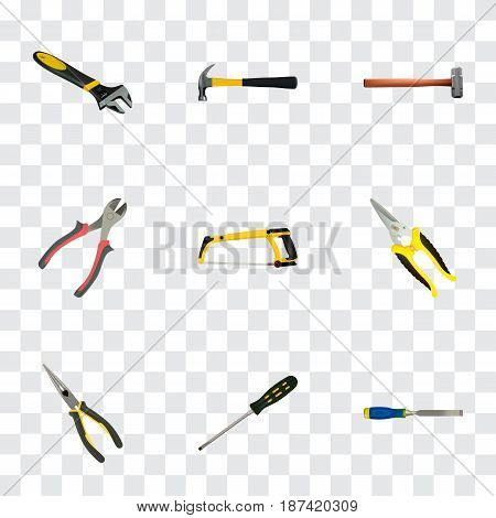 Realistic Wrench, Carpenter, Scissors And Other Vector Elements. Set Of Instruments Realistic Symbols Also Includes Noise, Scissors, Clippers Objects.