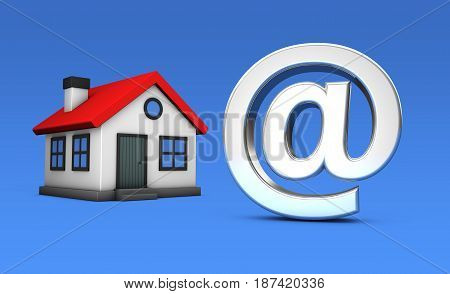 Small house model icon and at symbol online property and real estate agency concept 3D illustration on blue background.