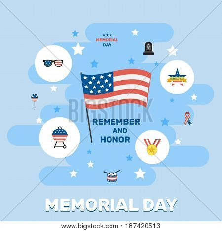 Flat Memorial Day, Holiday, Medallion And Other Vector Elements. Set Of Memorial Flat Symbols Also Includes Holiday, American, Drum Objects.