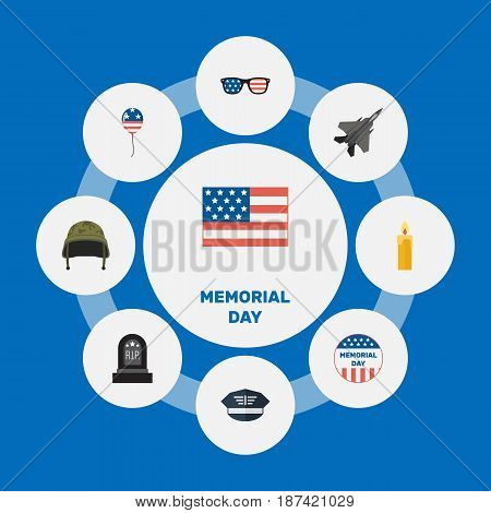 Flat Spectacles, Usa Badge, Fire Wax And Other Vector Elements. Set Of History Flat Symbols Also Includes Flag, Candle, Balloon Objects.