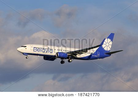 Borispol, Ukraine - May 20, 2017: Belavia Boeing 737-800 aircraft on final approach to the Borispol International Airport on May 20, 2017. Editorial use only