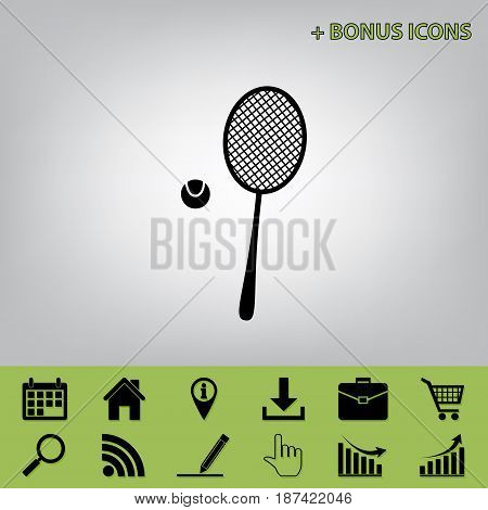 Tennis racquet with ball sign. Vector. Black icon at gray background with bonus icon