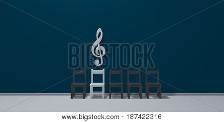 clef symbol over row of chairs - 3d rendering