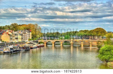 Pont de Verdun, a bridge across the Maine river in Angers, France