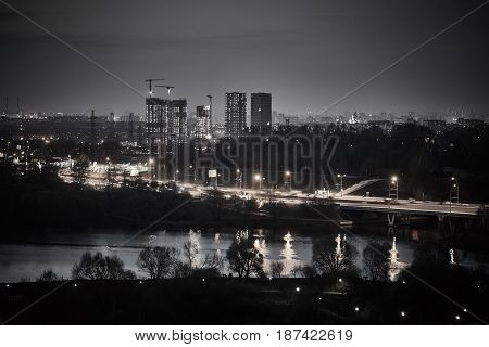 Russia, Moscow, Night Time City View Photo