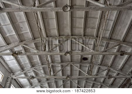 concrete roof structure of modern building, close up