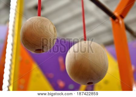 climber wooden ball for training. close up