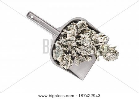 Crumpled hundred dollar bills in a scoop top view isolated on a white background