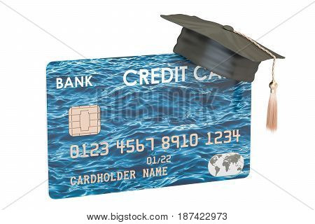 credit card with graduation hat 3D rendering isolated on white background