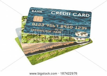 Credit Cards 3D rendering isolated on white background