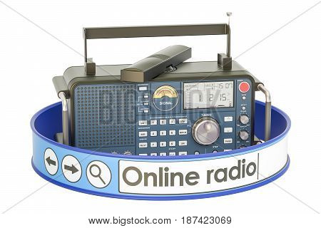 online radio concept 3D rendering isolated on white background