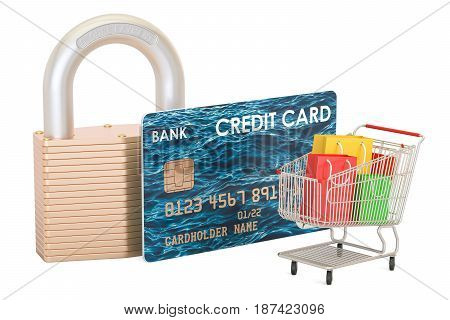 Safe shopping concept 3D rendering isolated on white background
