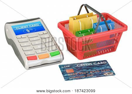 Shopping concept. POS-terminal with credit card and shopping basket with shopping bags 3D rendering