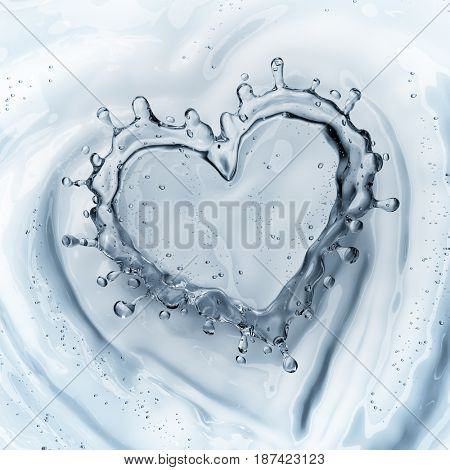 Heart from water splash with bubbles isolated on white background. 3d rendering
