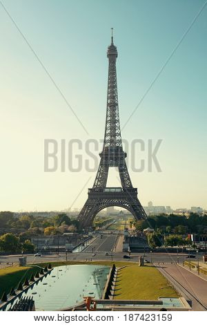 Eiffel Tower as the famous city landmark in Paris
