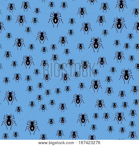Poisonous Spider Seamless Pattern on Blue Background