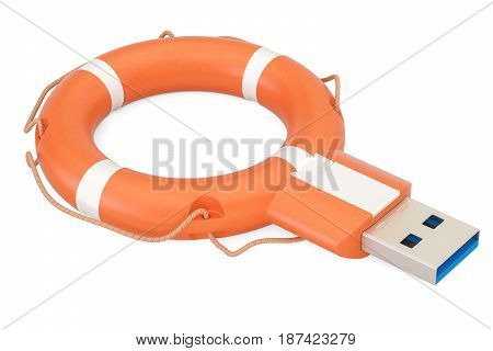 USB flash drive with lifebuoy safety and security concept. 3D rendering