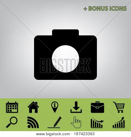 Digital camera sign. Vector. Black icon at gray background with bonus icons